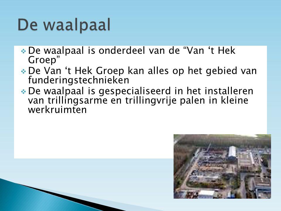  De waalpaal is onderdeel van de Van 't Hek Groep  De Van 't Hek Groep kan alles op het gebied van funderingstechnieken  De waalpaal is gespecialiseerd in het installeren van trillingsarme en trillingvrije palen in kleine werkruimten