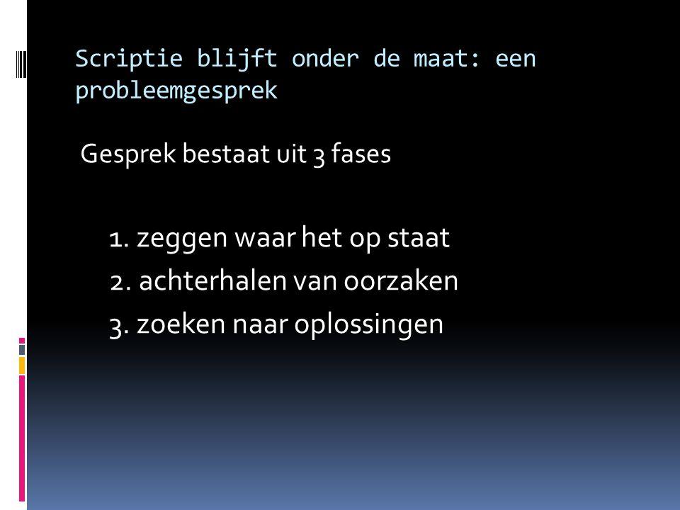 Scriptie blijft onder de maat: een probleemgesprek Gesprek bestaat uit 3 fases 1. zeggen waar het op staat 2. achterhalen van oorzaken 3. zoeken naar