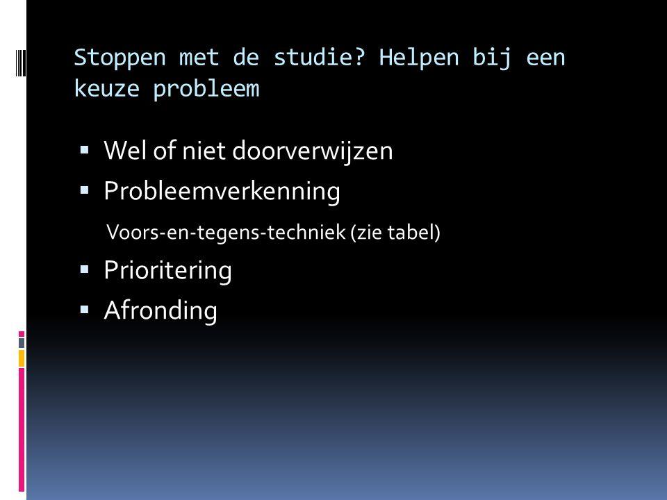 Stoppen met de studie? Helpen bij een keuze probleem  Wel of niet doorverwijzen  Probleemverkenning Voors-en-tegens-techniek (zie tabel)  Prioriter