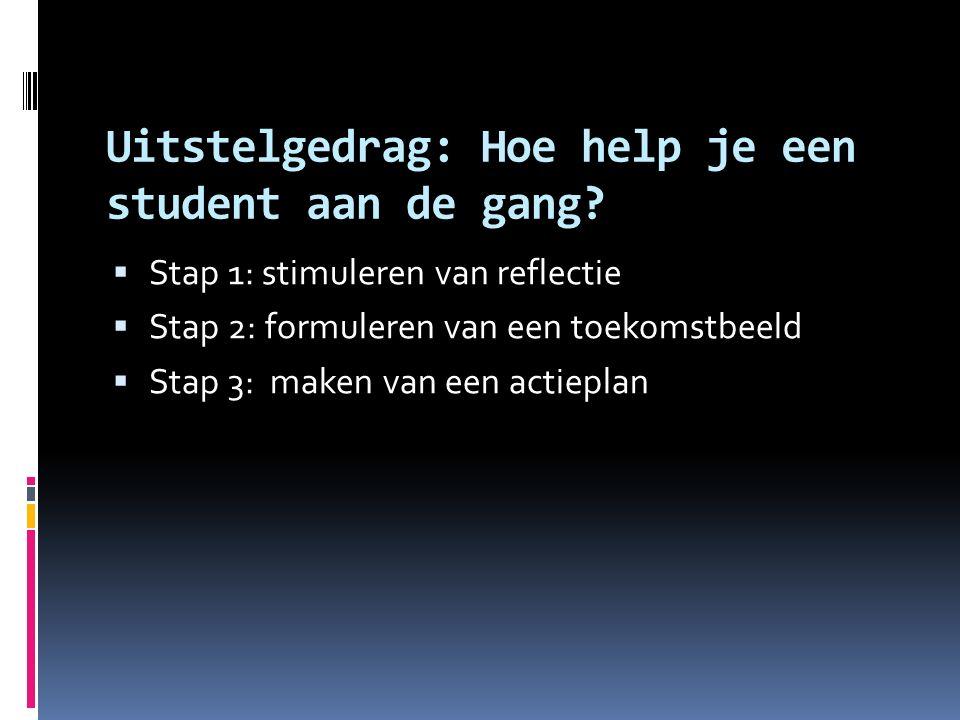 Uitstelgedrag: Hoe help je een student aan de gang?  Stap 1: stimuleren van reflectie  Stap 2: formuleren van een toekomstbeeld  Stap 3: maken van