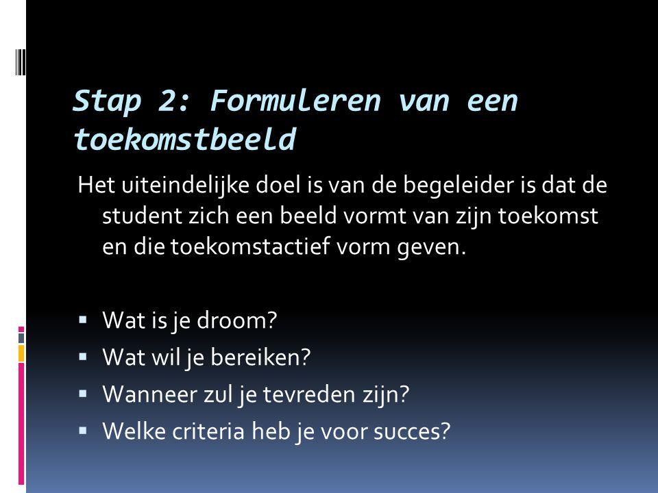 Stap 2: Formuleren van een toekomstbeeld Het uiteindelijke doel is van de begeleider is dat de student zich een beeld vormt van zijn toekomst en die t