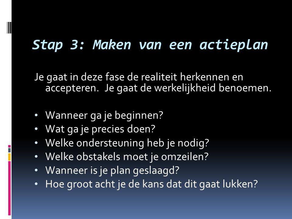 Stap 3: Maken van een actieplan Je gaat in deze fase de realiteit herkennen en accepteren. Je gaat de werkelijkheid benoemen. Wanneer ga je beginnen?