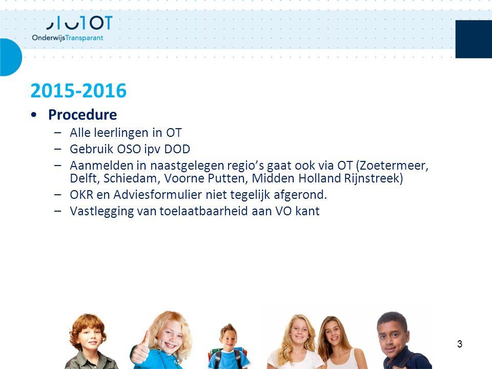 Procedure –Alle leerlingen in OT –Gebruik OSO ipv DOD –Aanmelden in naastgelegen regio's gaat ook via OT (Zoetermeer, Delft, Schiedam, Voorne Putten,