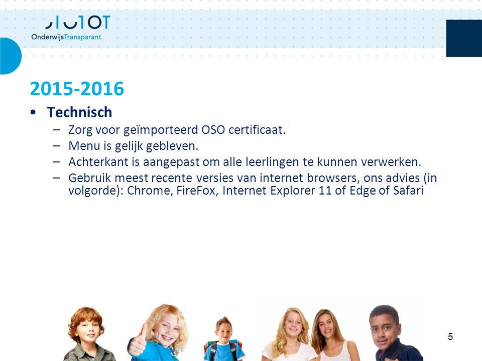 Technisch –Zorg voor geïmporteerd OSO certificaat. –Menu is gelijk gebleven. –Achterkant is aangepast om alle leerlingen te kunnen verwerken. –Gebruik
