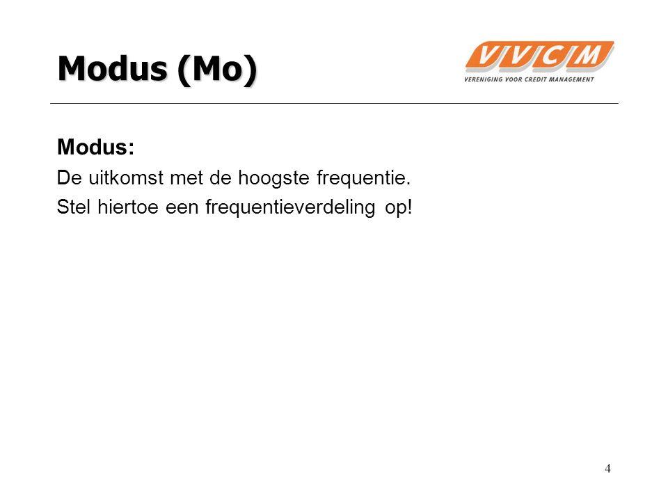 4 Modus (Mo) Modus: De uitkomst met de hoogste frequentie. Stel hiertoe een frequentieverdeling op!