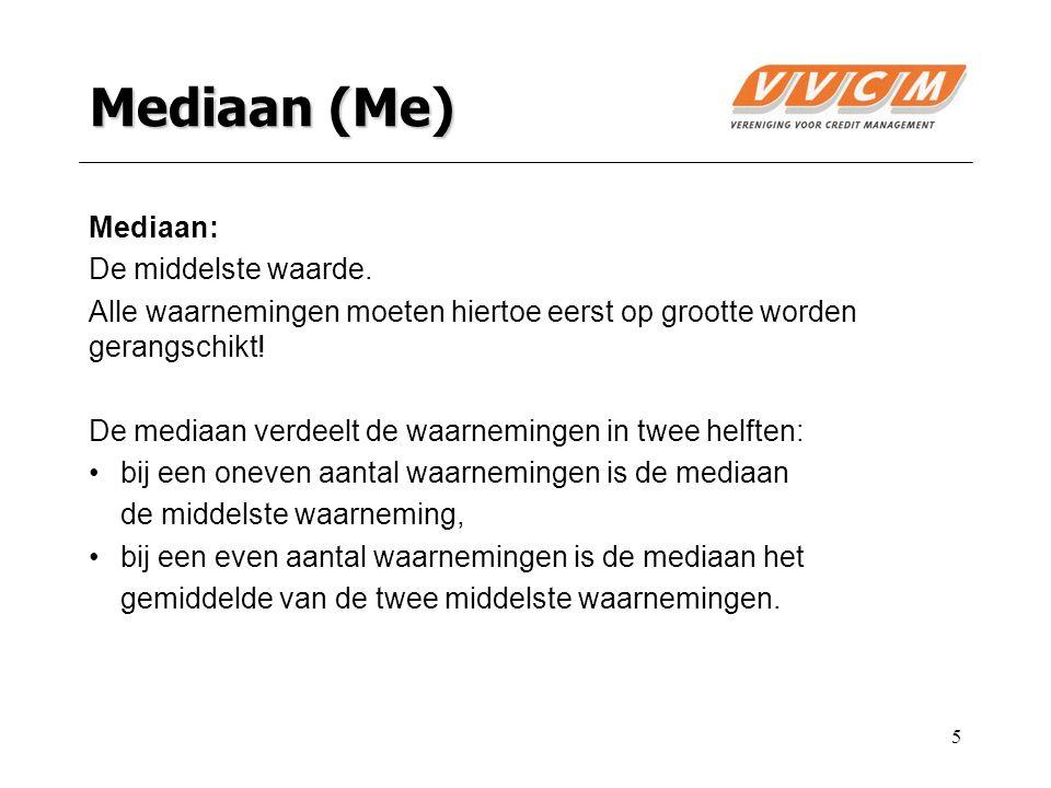 5 Mediaan (Me) Mediaan: De middelste waarde.