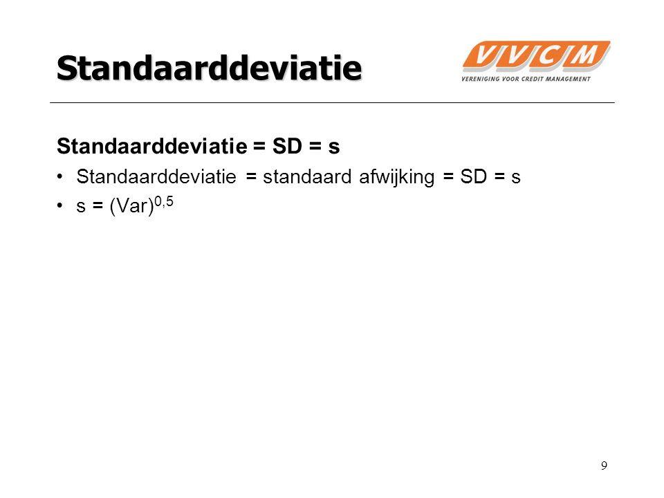 9 Standaarddeviatie Standaarddeviatie = SD = s Standaarddeviatie = standaard afwijking = SD = s s = (Var) 0,5