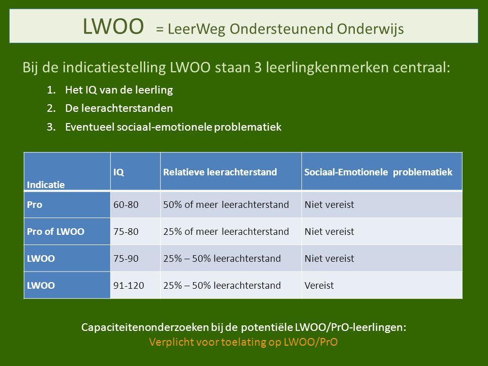 LWOO = LeerWeg Ondersteunend Onderwijs Bij de indicatiestelling LWOO staan 3 leerlingkenmerken centraal: 1.Het IQ van de leerling 2.De leerachterstanden 3.Eventueel sociaal-emotionele problematiek Indicatie IQRelatieve leerachterstandSociaal-Emotionele problematiek Pro60-8050% of meer leerachterstandNiet vereist Pro of LWOO75-8025% of meer leerachterstandNiet vereist LWOO75-9025% – 50% leerachterstandNiet vereist LWOO91-12025% – 50% leerachterstandVereist Capaciteitenonderzoeken bij de potentiële LWOO/PrO-leerlingen: Verplicht voor toelating op LWOO/PrO