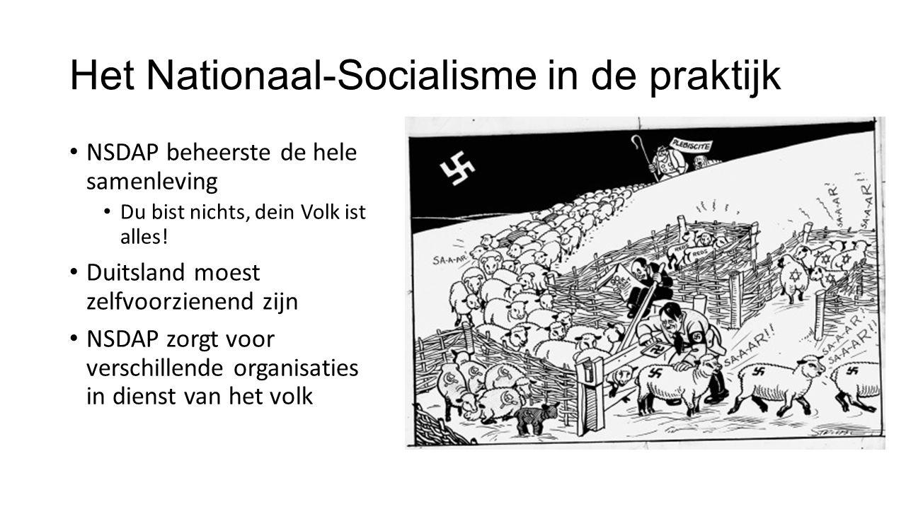 Het Nationaal-Socialisme in de praktijk NSDAP beheerste de hele samenleving Du bist nichts, dein Volk ist alles.
