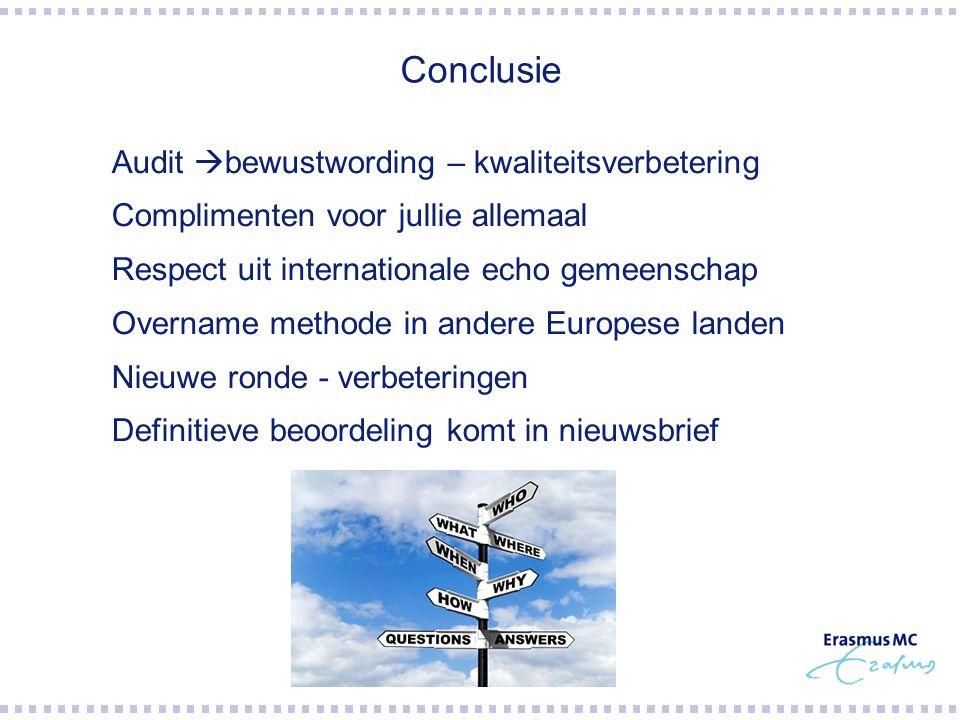 Conclusie  Audit  bewustwording – kwaliteitsverbetering  Complimenten voor jullie allemaal  Respect uit internationale echo gemeenschap  Overname methode in andere Europese landen  Nieuwe ronde - verbeteringen  Definitieve beoordeling komt in nieuwsbrief