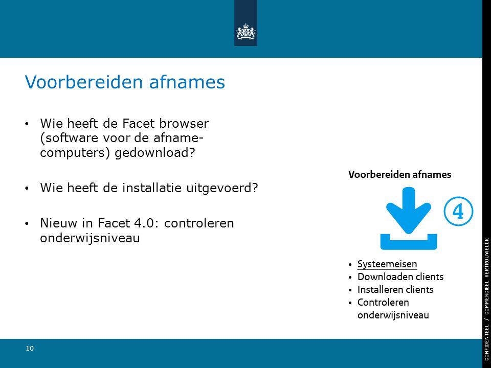 CONFIDENTEEL / COMMERCIEEL VERTROUWELIJK 10 Voorbereiden afnames Wie heeft de Facet browser (software voor de afname- computers) gedownload? Wie heeft