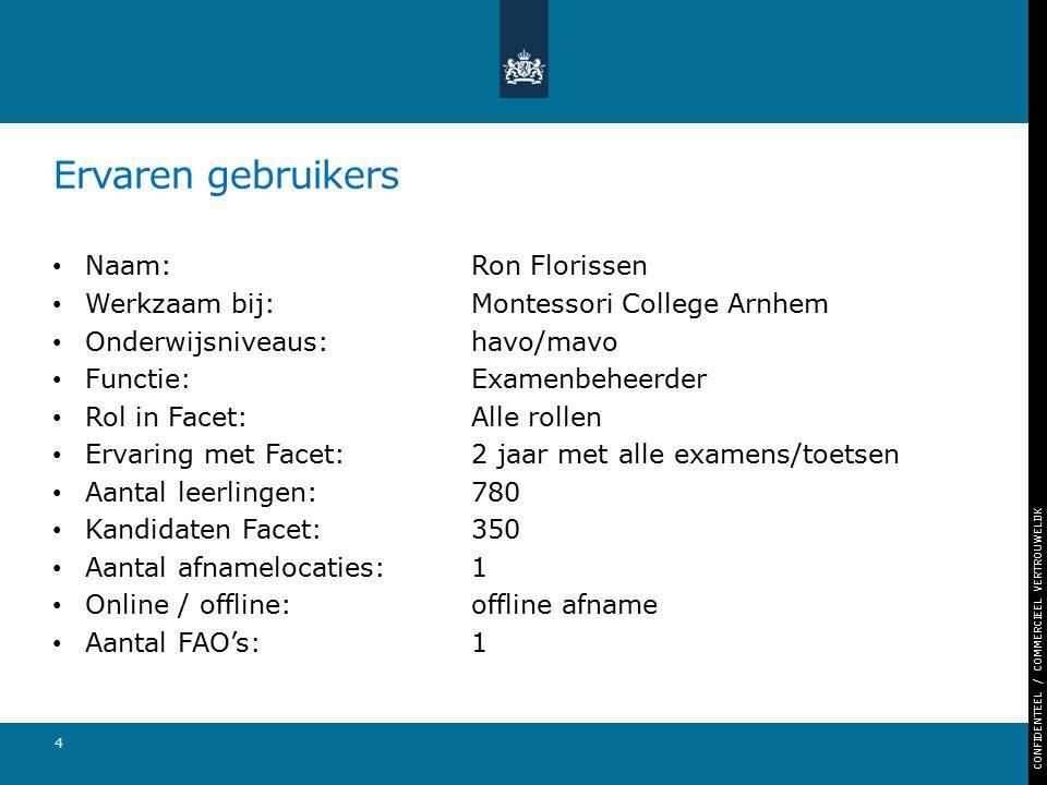 CONFIDENTEEL / COMMERCIEEL VERTROUWELIJK Ervaren gebruikers Naam: Ron Florissen Werkzaam bij: Montessori College Arnhem Onderwijsniveaus: havo/mavo Fu