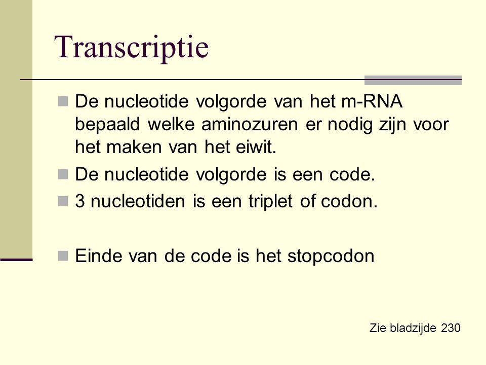 De nucleotide volgorde van het m-RNA bepaald welke aminozuren er nodig zijn voor het maken van het eiwit. De nucleotide volgorde is een code. 3 nucleo
