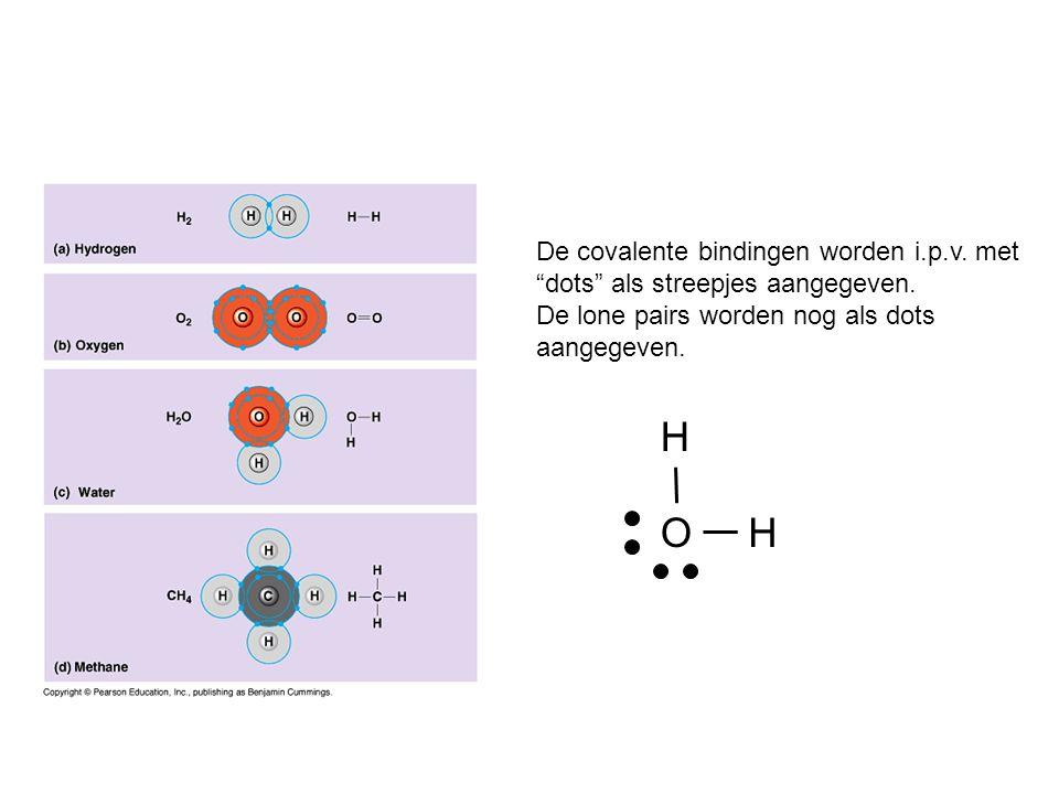 """De covalente bindingen worden i.p.v. met """"dots"""" als streepjes aangegeven. De lone pairs worden nog als dots aangegeven. H O H"""