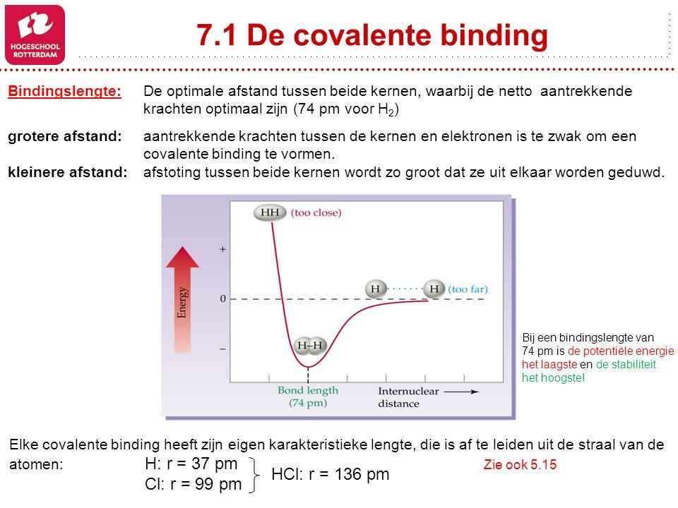 7.1 De covalente binding Bindingslengte: De optimale afstand tussen beide kernen, waarbij de netto aantrekkende krachten optimaal zijn (74 pm voor H 2