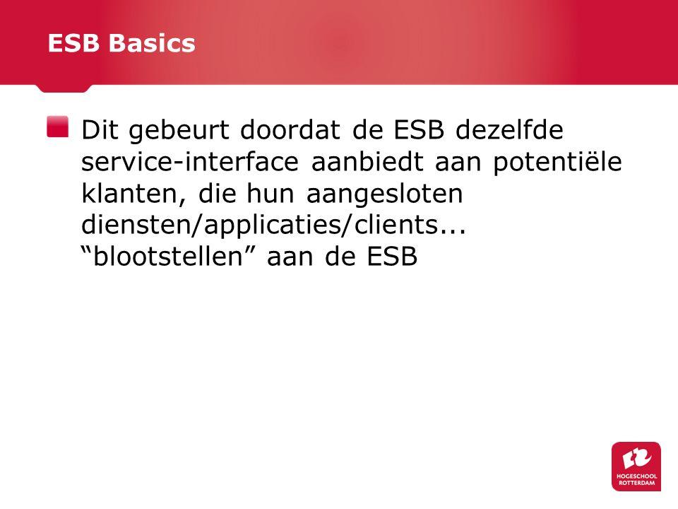 ESB Basics Dit gebeurt doordat de ESB dezelfde service-interface aanbiedt aan potentiële klanten, die hun aangesloten diensten/applicaties/clients...