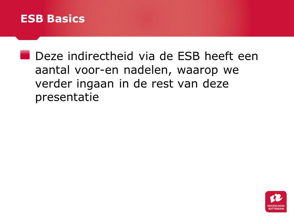 ESB Basics Deze indirectheid via de ESB heeft een aantal voor-en nadelen, waarop we verder ingaan in de rest van deze presentatie