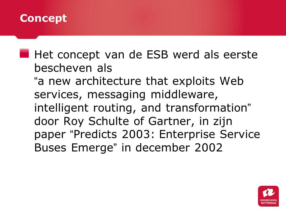 Concept Het concept van de ESB werd als eerste bescheven als a new architecture that exploits Web services, messaging middleware, intelligent routing, and transformation door Roy Schulte of Gartner, in zijn paper Predicts 2003: Enterprise Service Buses Emerge in december 2002