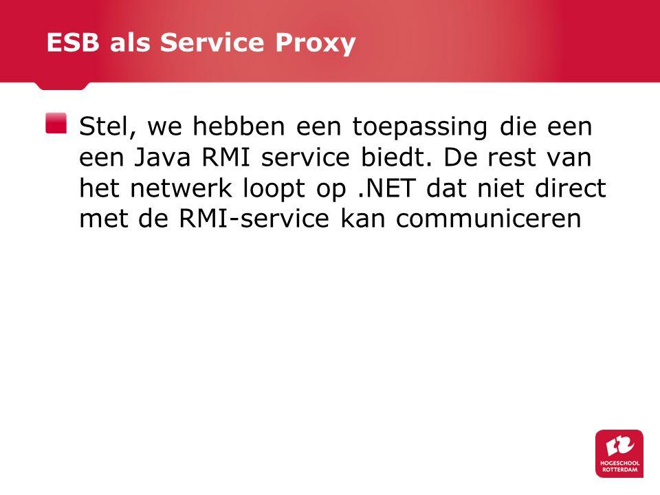 ESB als Service Proxy Stel, we hebben een toepassing die een een Java RMI service biedt.