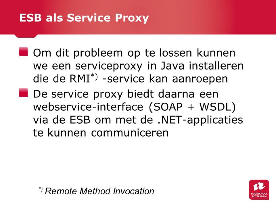 ESB als Service Proxy Om dit probleem op te lossen kunnen we een serviceproxy in Java installeren die de RMI *) -service kan aanroepen De service proxy biedt daarna een webservice-interface (SOAP + WSDL) via de ESB om met de.NET-applicaties te kunnen communiceren *) Remote Method Invocation