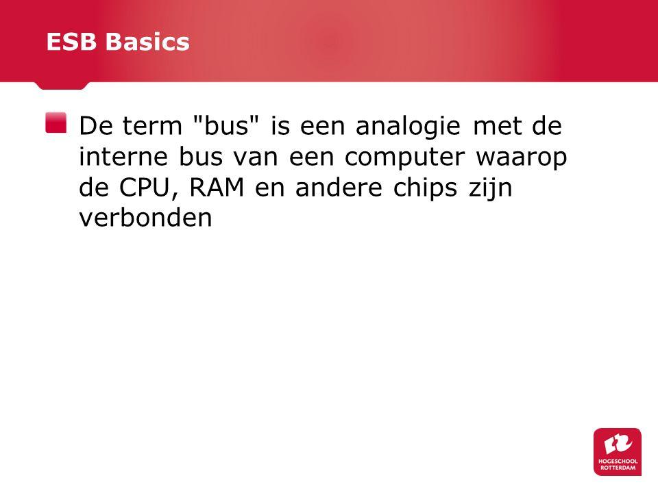 ESB Basics De term bus is een analogie met de interne bus van een computer waarop de CPU, RAM en andere chips zijn verbonden