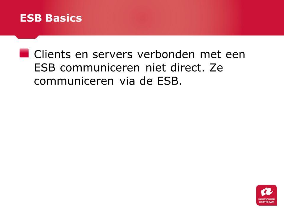 ESB Basics Clients en servers verbonden met een ESB communiceren niet direct.