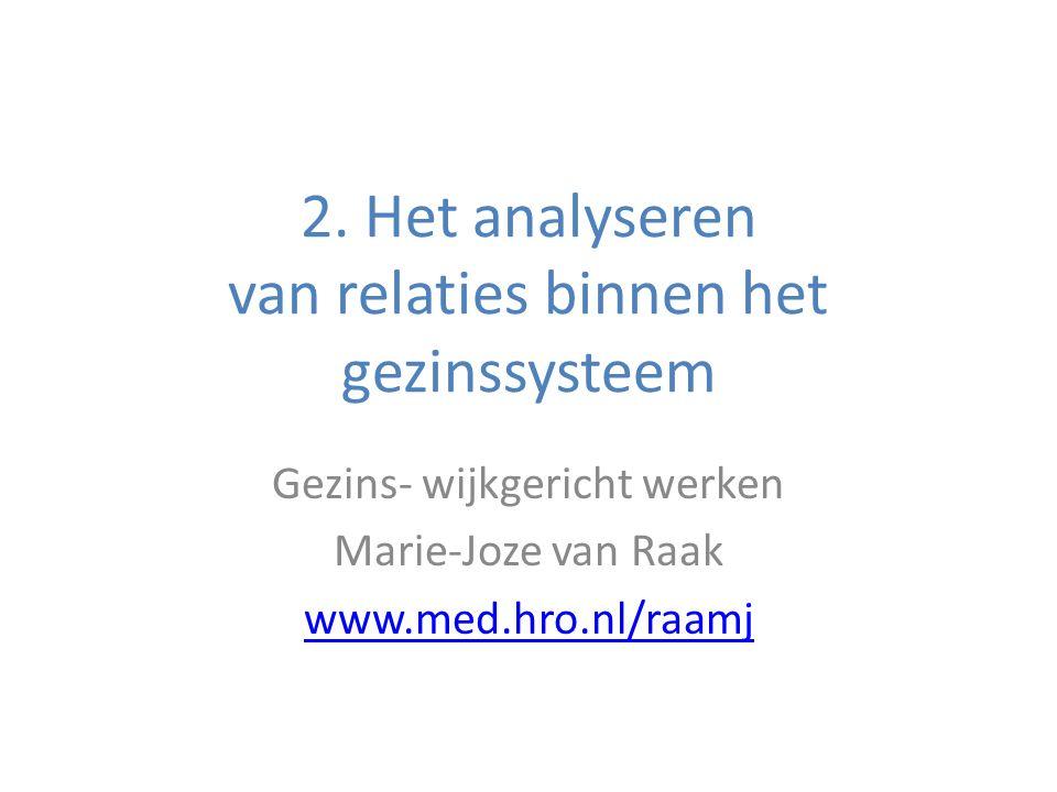 2. Het analyseren van relaties binnen het gezinssysteem Gezins- wijkgericht werken Marie-Joze van Raak www.med.hro.nl/raamj