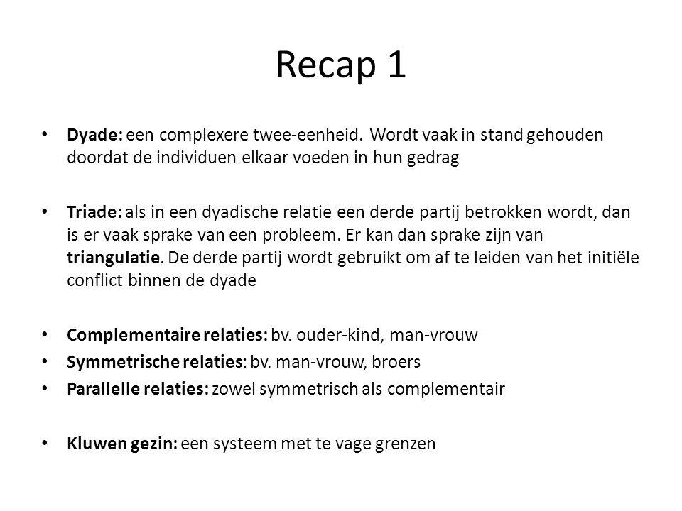 Recap 1 Dyade: een complexere twee-eenheid.