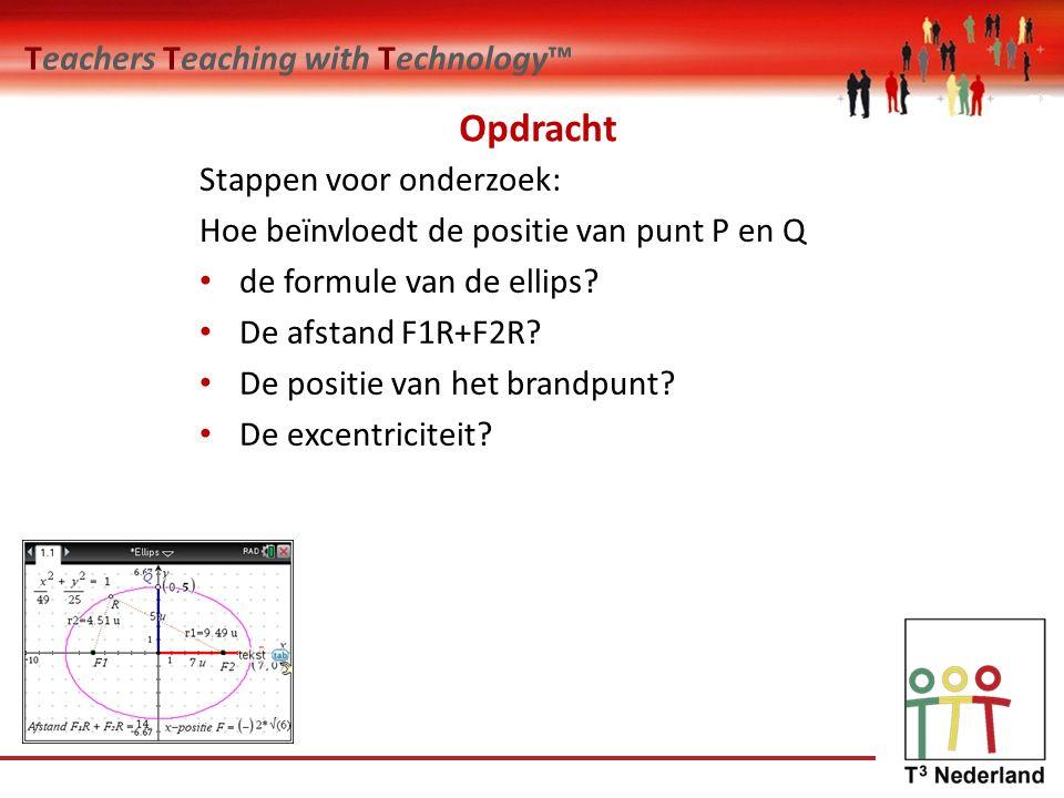 Teachers Teaching with Technology™ Opdracht Stappen voor onderzoek: Hoe beïnvloedt de positie van punt P en Q de formule van de ellips.