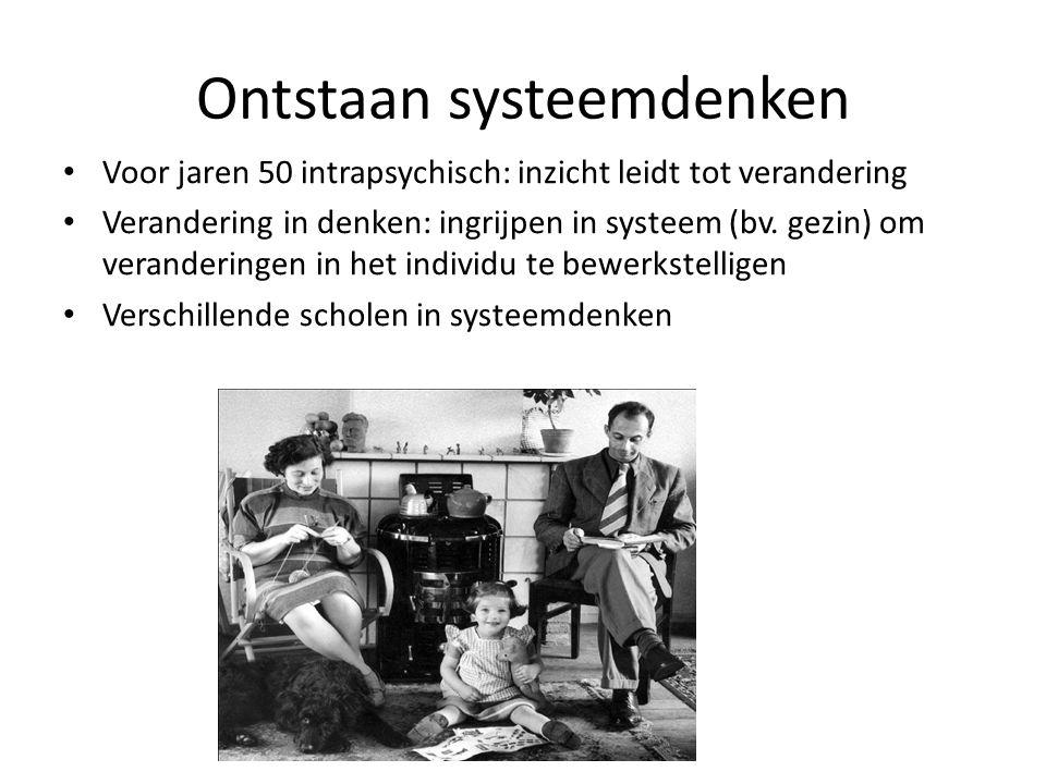 Ontstaan systeemdenken Voor jaren 50 intrapsychisch: inzicht leidt tot verandering Verandering in denken: ingrijpen in systeem (bv. gezin) om verander