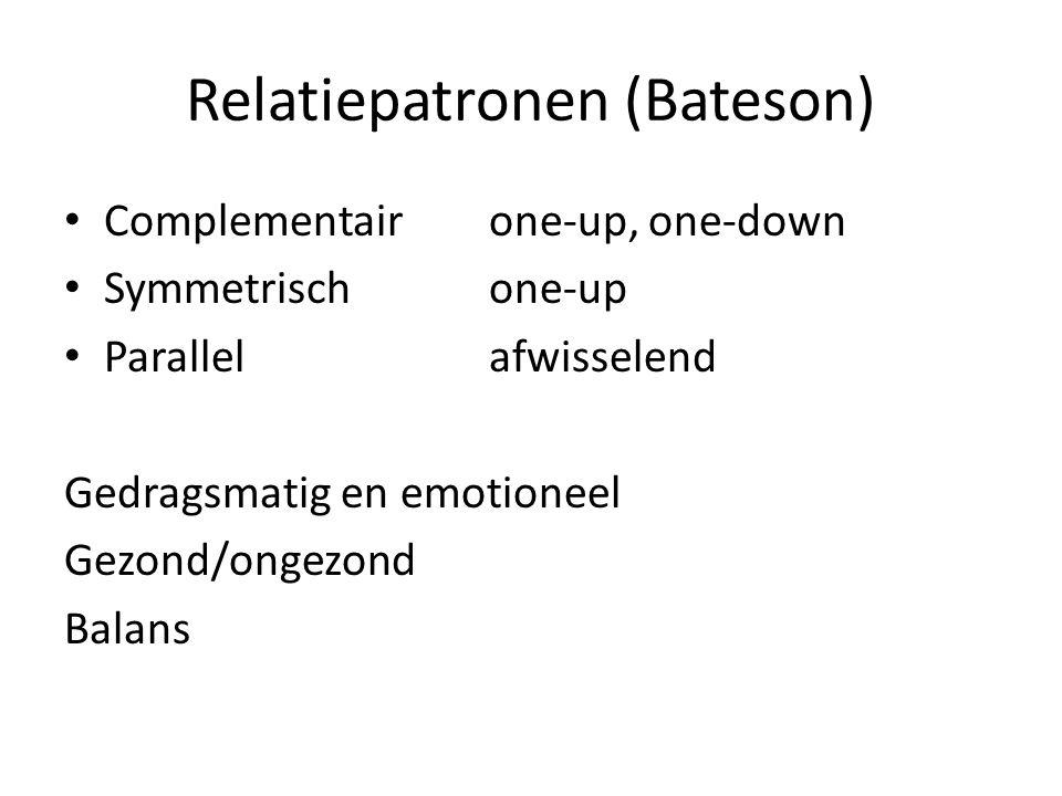 Relatiepatronen (Bateson) Complementairone-up, one-down Symmetrischone-up Parallelafwisselend Gedragsmatig en emotioneel Gezond/ongezond Balans
