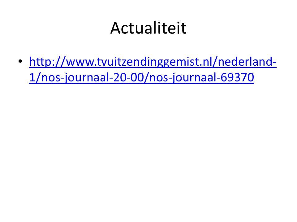 Actualiteit http://www.tvuitzendinggemist.nl/nederland- 1/nos-journaal-20-00/nos-journaal-69370 http://www.tvuitzendinggemist.nl/nederland- 1/nos-jour