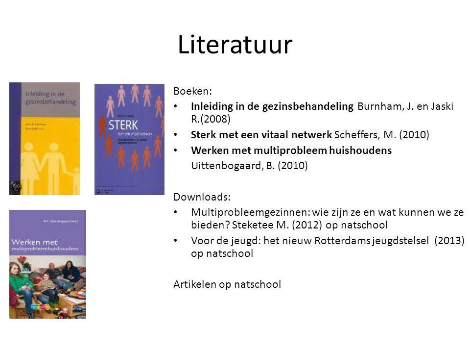 Literatuur Boeken: Inleiding in de gezinsbehandeling Burnham, J. en Jaski R.(2008) Sterk met een vitaal netwerk Scheffers, M. (2010) Werken met multip