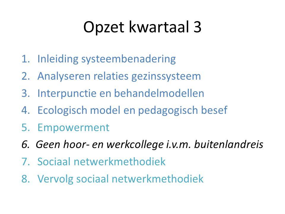 Opzet kwartaal 3 1.Inleiding systeembenadering 2.Analyseren relaties gezinssysteem 3.Interpunctie en behandelmodellen 4.Ecologisch model en pedagogisch besef 5.Empowerment 6.