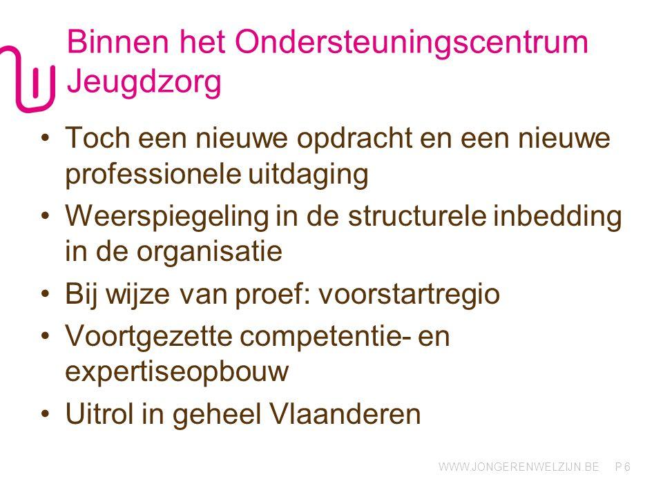 WWW.JONGERENWELZIJN.BE P Binnen het Ondersteuningscentrum Jeugdzorg Toch een nieuwe opdracht en een nieuwe professionele uitdaging Weerspiegeling in de structurele inbedding in de organisatie Bij wijze van proef: voorstartregio Voortgezette competentie- en expertiseopbouw Uitrol in geheel Vlaanderen 6