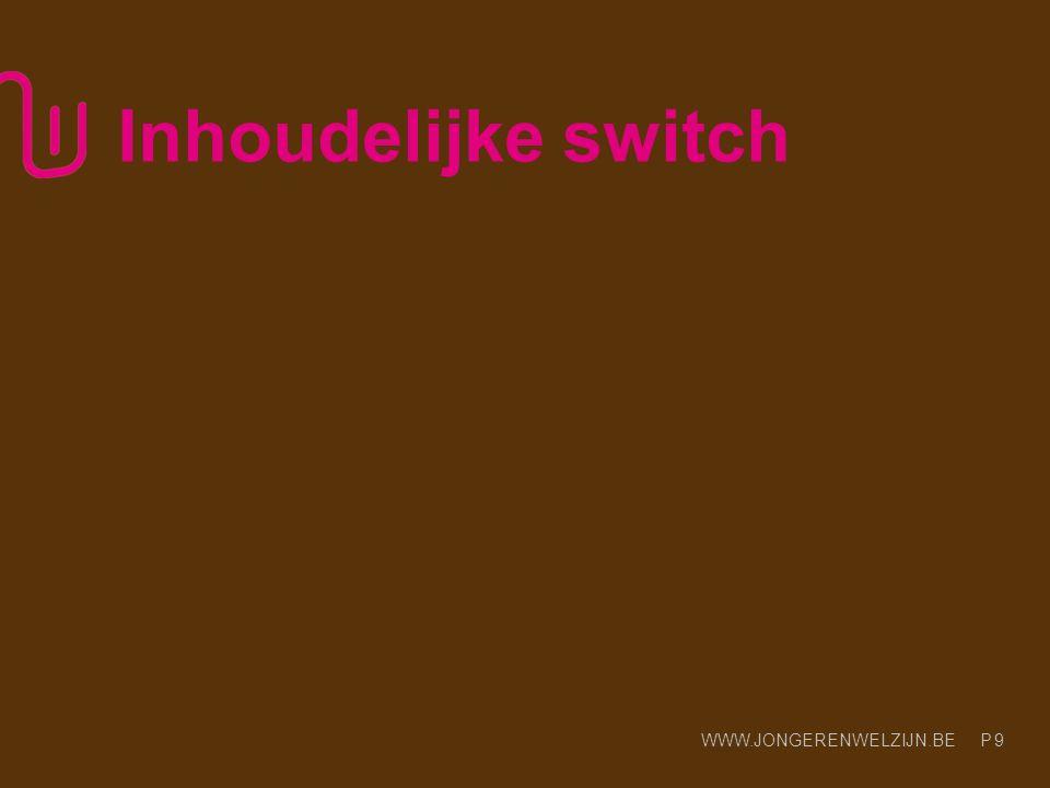 WWW.JONGERENWELZIJN.BE P 9 Inhoudelijke switch