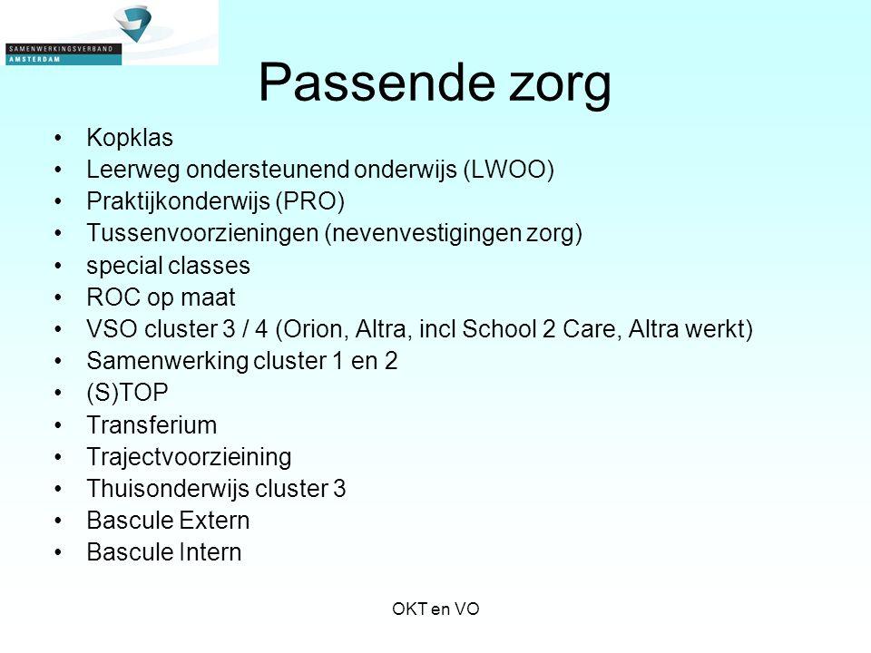 Passende zorg Kopklas Leerweg ondersteunend onderwijs (LWOO) Praktijkonderwijs (PRO) Tussenvoorzieningen (nevenvestigingen zorg) special classes ROC o
