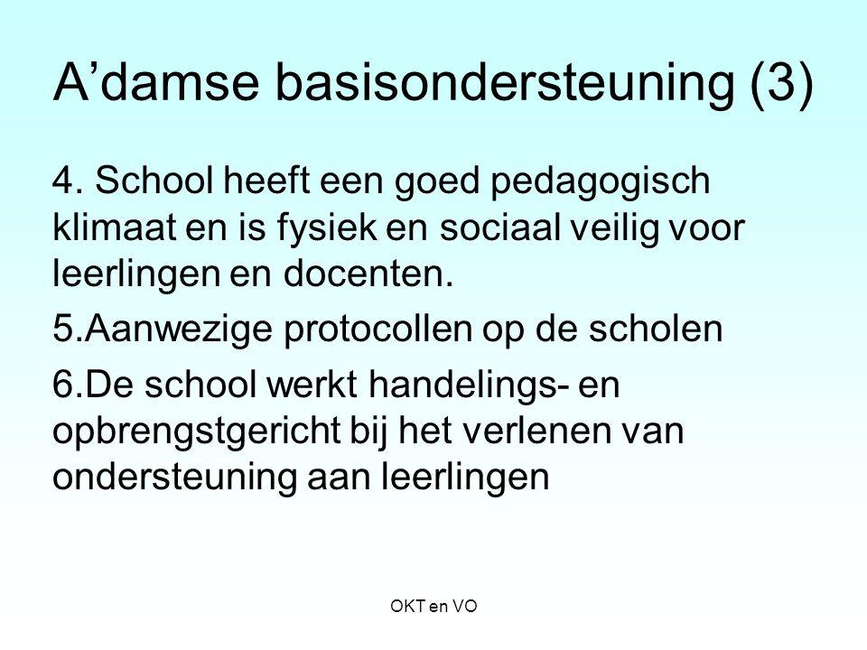 A'damse basisondersteuning (3) 4. School heeft een goed pedagogisch klimaat en is fysiek en sociaal veilig voor leerlingen en docenten. 5.Aanwezige pr
