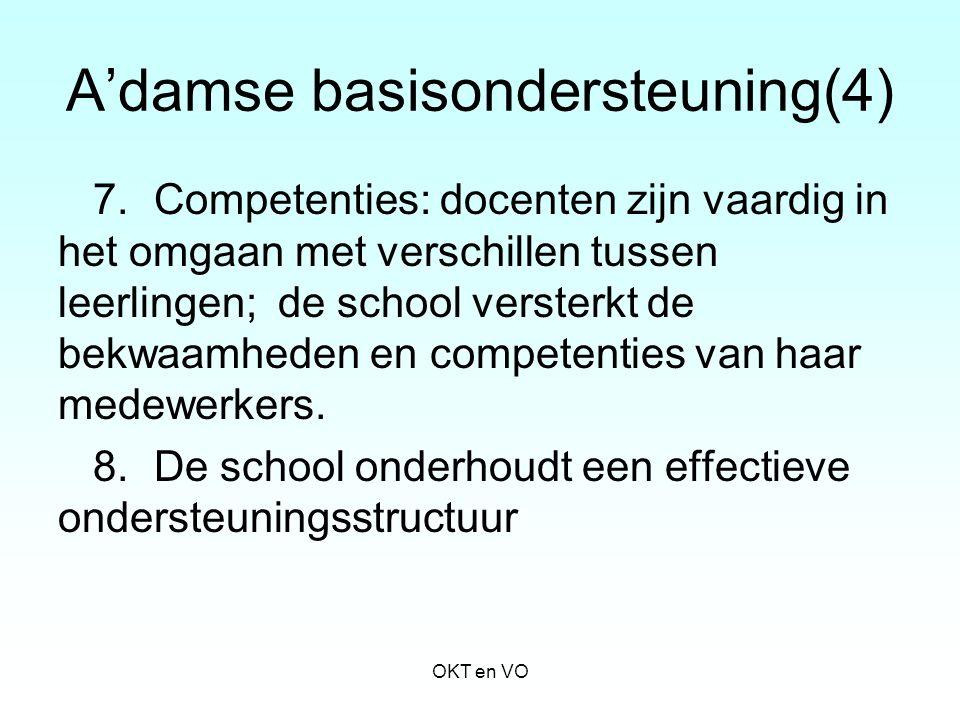 A'damse basisondersteuning(4) 7. Competenties: docenten zijn vaardig in het omgaan met verschillen tussen leerlingen; de school versterkt de bekwaamhe