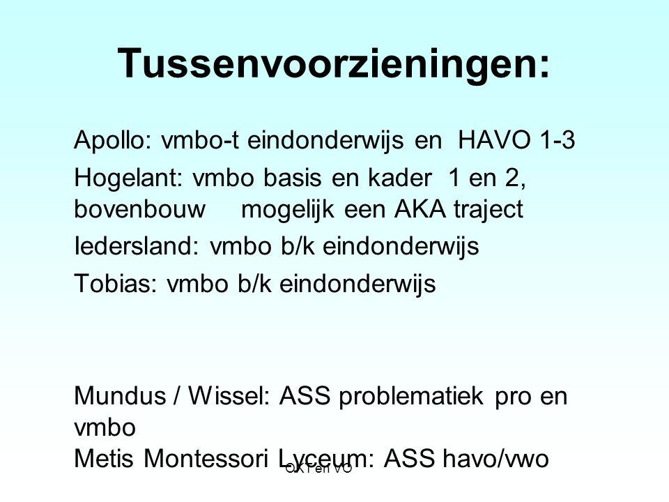 Tussenvoorzieningen: Apollo: vmbo-t eindonderwijs en HAVO 1-3 Hogelant: vmbo basis en kader 1 en 2, bovenbouw mogelijk een AKA traject Iedersland: vmb