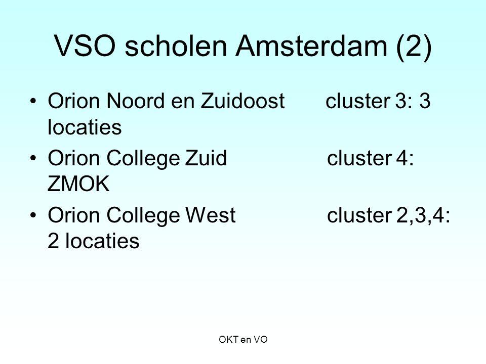 VSO scholen Amsterdam (2) Orion Noord en Zuidoost cluster 3: 3 locaties Orion College Zuid cluster 4: ZMOK Orion College West cluster 2,3,4: 2 locatie