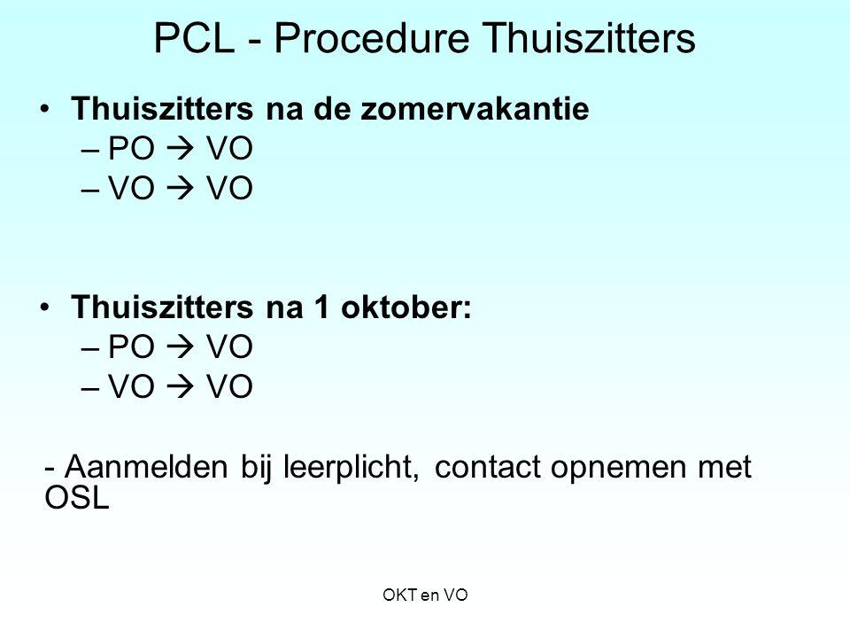 PCL - Procedure Thuiszitters Thuiszitters na de zomervakantie –PO  VO –VO  VO Thuiszitters na 1 oktober: –PO  VO –VO  VO - Aanmelden bij leerplich