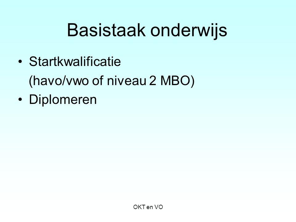 Basistaak onderwijs Startkwalificatie (havo/vwo of niveau 2 MBO) Diplomeren OKT en VO