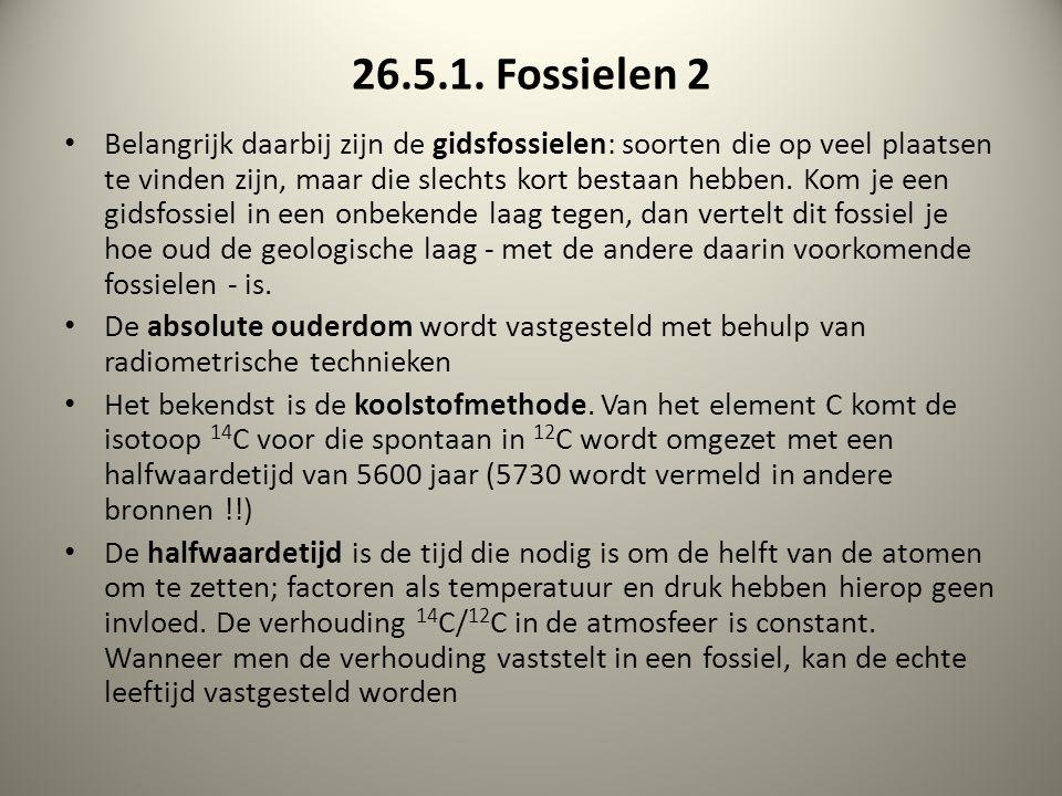 26.5.1. Fossielen 2 Belangrijk daarbij zijn de gidsfossielen: soorten die op veel plaatsen te vinden zijn, maar die slechts kort bestaan hebben. Kom j