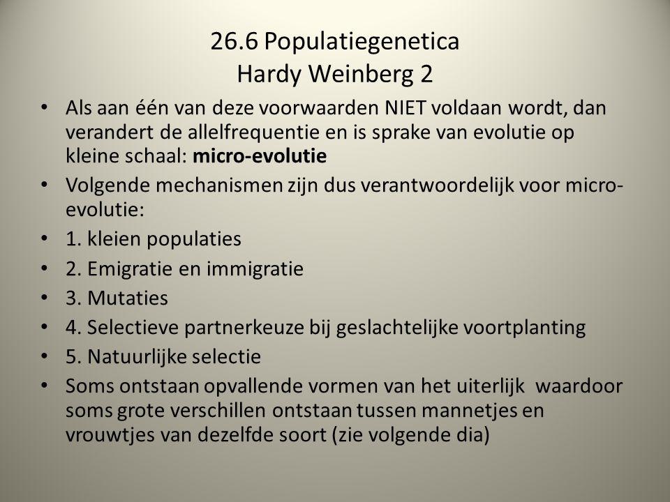 26.6 Populatiegenetica Hardy Weinberg 2 Als aan één van deze voorwaarden NIET voldaan wordt, dan verandert de allelfrequentie en is sprake van evoluti