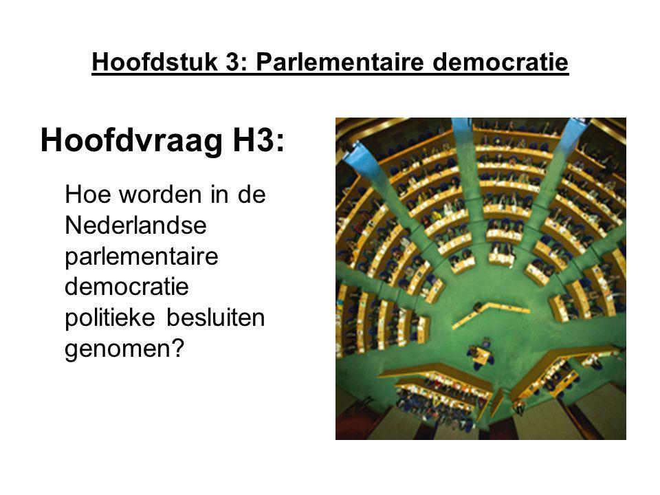 Hoofdstuk 3: Parlementaire democratie Hoofdvraag H3: Hoe worden in de Nederlandse parlementaire democratie politieke besluiten genomen?