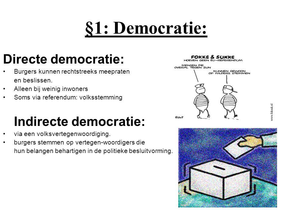 §1: Democratie: Directe democratie: Burgers kunnen rechtstreeks meepraten en beslissen. Alleen bij weinig inwoners Soms via referendum: volksstemming