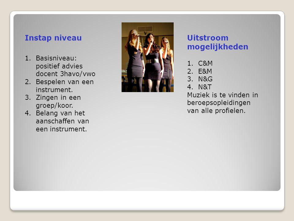 Instap niveauUitstroom mogelijkheden 1.Basisniveau: positief advies docent 3havo/vwo 2.Bespelen van een instrument.