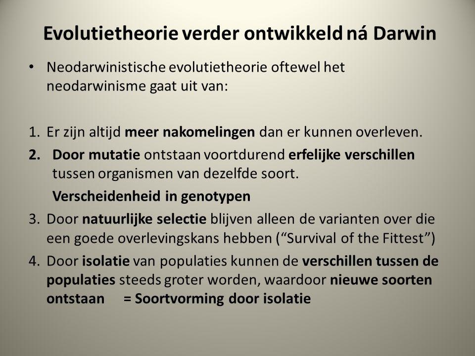 Evolutietheorie verder ontwikkeld ná Darwin Neodarwinistische evolutietheorie oftewel het neodarwinisme gaat uit van: 1. Er zijn altijd meer nakomelin