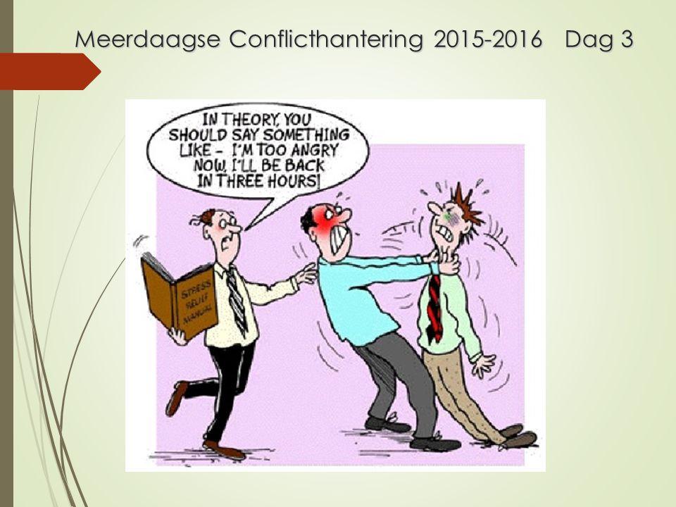 Conflicthantering bijeenkomst 3 Aanwezigheid/ inleveren: conflict-onderhandel.-situatie.